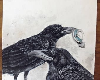 Original Watercolor - Two Crows, Scavengers