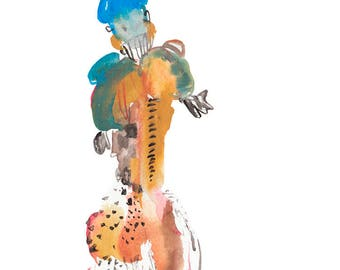 One of a Kind Abstract Figure Watercolor Painting, Original Fashion Illustration - 157