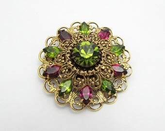 Vintage Filigree Brooch - Green & Amethyst Rhinestones - 1.75 domed gold tone setting - 40s-50s - free US shg