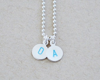 Sterling Silver Letter Stamped Necklace - Colorful Name Charm Pendant Set