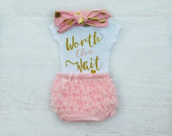 Baby Girl Clothes/ Worth the Wait/ Baby Bodysuit/ Coming Home Outfit/ Baby Girl Set/ Baby Shower Gift/ Baby Shirt/ Baby Girl Bodysuit
