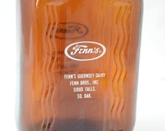 Vintage Brown Glass Half Gallon Milk Bottle Jug Fenn's Dairy Sioux Falls SO. DAK. w. original Mellow - D Cap and Handle
