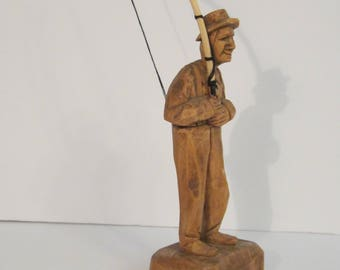 Signed Folk Art Fisherman Wood Carving - Humorous Fly Fishing Man with Hook in Pants - Fathers Day Idea - Husband or Dad Gift