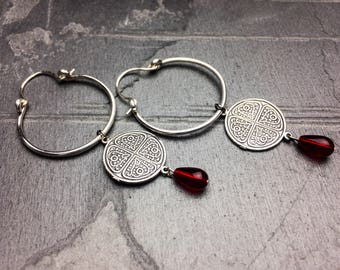 small hoop earrings silver hoop earrings cross hoop earrings small hoop cross earrings tribal jewelry tribal earrings | Kai hoop earrings