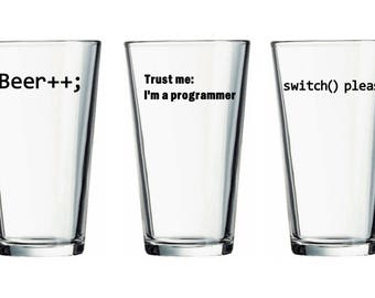 Vinyl Beer Glass, Computer Science Gift, Programmer Gift, Computer Programmer Glass, Software Engineer Glass