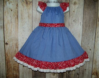 Cowgirl Twirl Dress / Red Bandana + Blue Chambray + Lace / Western / Rodeo / Flower Girl / Pageant / Wedding/ Infant / Baby / Girl / Toddler