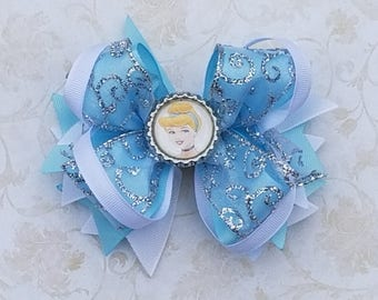 Cinderella Bow or Headband / Blue & Silver / Disney Princess / Pageant / Photo Prop / Bling Boutique Bow / Infant / Baby / Girl / Toddler