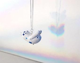 White Blue Ceramic Bird Necklace, Bird Jewelry, Bird Pendant, Animal Jewelry, Minimalist Necklace, Birthday Gift, Gift for Her, Bird Lover