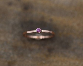 Pink Sapphire Rose Gold Stacking Ring - Hand Made in White & Rose Gold - Thick Stackable - Hammered Texture - Skinny Pink Sapphire Ring