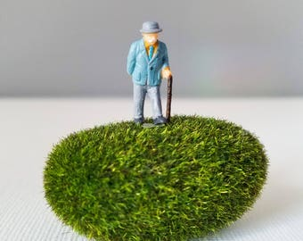 Miniature World Terrarium People Tiny Old Man in Blue with Cane HO Scale Hand painted One of a Kind Railroad