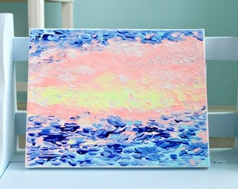 SUNSHINE + SEA PAINTING. acrylic painting. sea + sunshine painting. bright peach + light blue + cobalt blue + white + bright yellow.