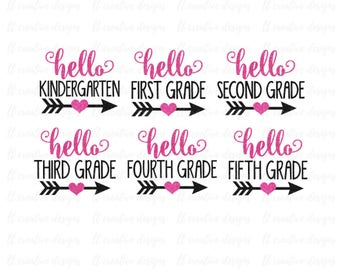 Hello School SVG, School SVG, SVG Files, Silhouette Files, Cricut Files, Back To School Cutting Files