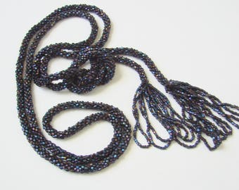 Antique Flapper Navy Blue Iridescent Glass Seed Bead Sautoir Lariat Tassel Necklace  /  Vintage Jewelry / Jewellery