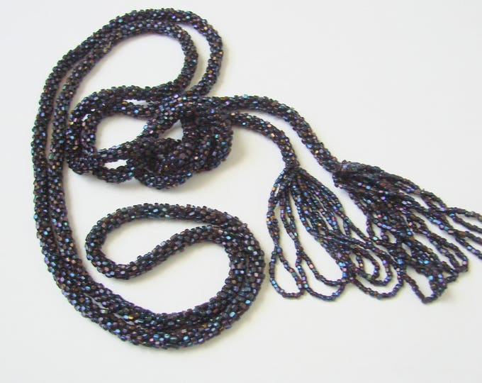 Antique Flapper Navy Blue Iridescent Glass Seed Bead Sautoir Lariat Tassel Necklace / Vintage Jewelry / Jewellery