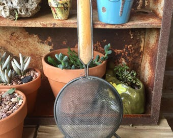 Vintage Strainer with Wooden Handle