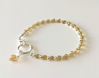 Stacking Bracelets, Champagne Beaded Bracelets, Dainty Bracelet, Bead Bracelet, Sparkly Bracelet, Czech Glass, Layering Bracelet, Star Charm