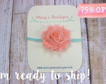 Mini Salmon Pink Teal Flower Headband/ Baby Headband/ Newborn Headband/ Baby Girl/ Photo Prop/ Bow Headband/ Clearance/ Coral/ Teal/