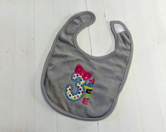 Third month with number 3 gray embroidered Koala Baby cloth baby bibs for three month old infant girls