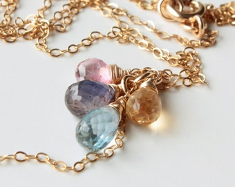 Gemstone Cluster Necklace, Blue Topaz, Citrine, Iolite, Pink Topaz, Goldfilled wire wrap, chain fringe pendant, holiday gift for her, 4335