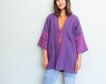 Embroidered Jacket / Kimono Jacket / Guatemalan Clothing / Bohemian Jacket / Boho Coat / Purple Coat / 70s Coat / Hippie Jacket
