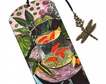 bookmark with bronze pendant goldfish henri matisse painting handmade