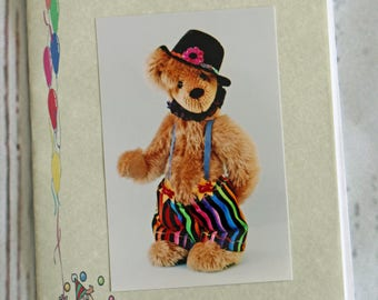 "Original Vintage Paper Sewing Pattern for Jeeves a 10.5"" Ooak Artist Teddy Bear with Clown Pants by LaBears"