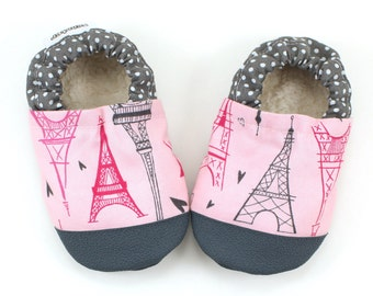 french baby shoes eiffel tower pairs baby shoes pink and gray baby booties toddler slippers with eiffel tower paris booties france baby