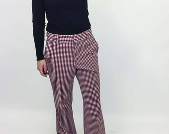 vintage plaid pants | medium petite |  burgundy checkered | the grandpa pants