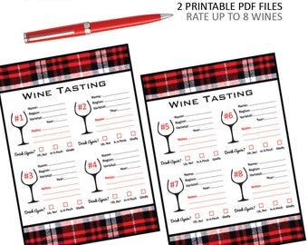 Plaid Wine Tasting Score Cards - Wine Tasting - Wine & Cheese Pairing - Wine Rating - Wine Notes - Christmas - Wine Birthday - Plaid Party