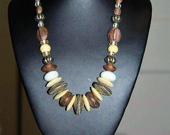 Vintage Artisan Boho Tribal Ethnic Glass Bead Bovine Bone Seed Necklace NMM3