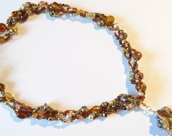 Necklace/Amber Trio/Multi Strands/Women/Beaded Necklace/Every Day/