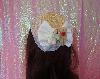 Hime Lolita Kawaii Grand Wedding Bears Pearl Bow Lavender Lace Mini Boater Headpiece