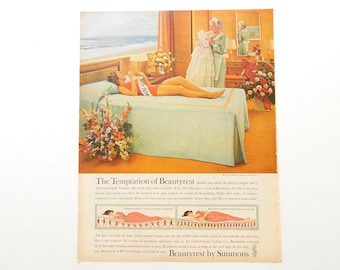 Vintage Beautyrest Ad - Beauty Pageant Theme for Guest Room or Bedroom Wall Art