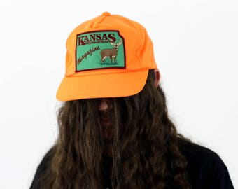 True Vintage 1980s Kansas Magazine Dayglow Orange Neon Deer Hunting Cap Snapback