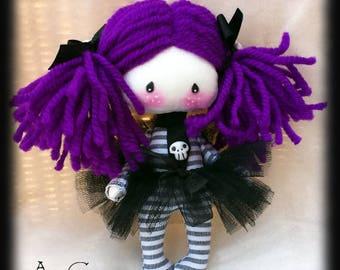 Mini goth doll Uma. Mini doll with purple hair and skulls. Miniature Goth cloth doll. Goth rag doll. Pocket size goth doll