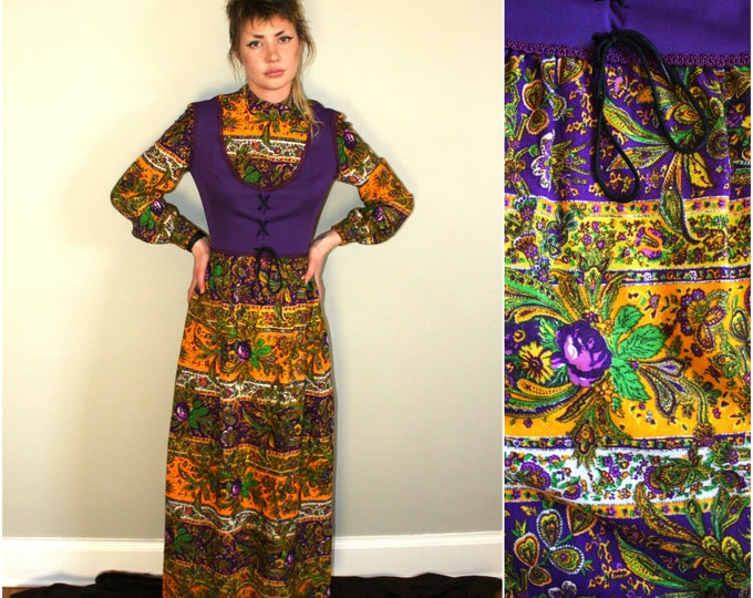 Featured listing image: 60s Psychedelic Bright Trippy Mod Dress. Rare Funky Hippie Maxi Dress. Mid Century Long Sleeve Long Retro Paisley Dress. Hippie Wedding