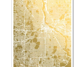 Map of Minneapolis, Gold Foil Map™, Minneapolis Map Print, Gold Foil Print, Minneapolis, Minnesota Gift for Traveler, Foil Pressed Map