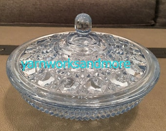 Blue Glass Candy Dish, Federal Glass, Blue Windsor Candy Dish, Candy Box, Button Cane Design, Vintage 1970s, Housewarming Gift