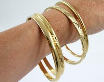 Vintage Monet Goldtone Bangle Bracelets