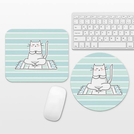 Yoga Mousepad Round Rectangular Mat Cute Mouse Pad Cat Mouse Pad Fun Mouse Pad Cute Mousepad Cat Mousepad Cool Mouse Pad Aqua Mint Mouse Pad