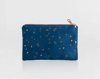 Bronze and Blue Faux Leather Pouch - Small vegan suede wallet - Printed dots cosmetic bag - Vegan suede coin purse - Metallic change wallet