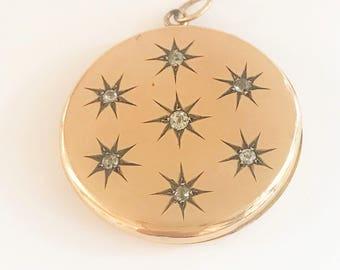 Antique Victorian 1880's Old European Cut Diamonds Starburst Locket / Pendant / 10k