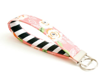 Floral Key Fob - Coral with Black and White Stripe - 5 In. - Key Chain - Cute Wristlet Loop - Short Lanyard Strap - New Driver Key Ring Gift