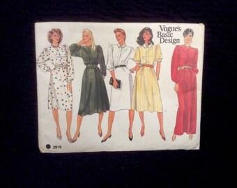 Vintage Vogue Sewing Pattern Uncut No. 2919 Misses Dress Size 12