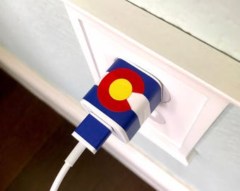 COLORADO FLAG Charger Decal Wrap Label Your Charger Apple Charger iPhone Charger