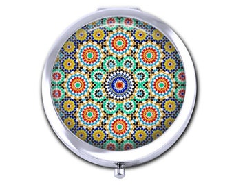 Moroccan compact pocket mirror, girlfriend gift for her mandala pocket mirror earring storage.