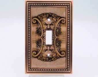 Switchplate Art: Bacchus in Copper Light Switch Cover, Architectural Detail Light Switch Plate, Go Goth ~ Antique Architectural Switchplate