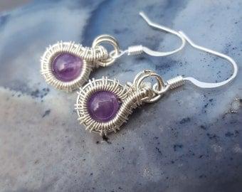 February Birthstone Earrings, February Birthstone Jewelry, Amethyst Earrings Sterling Silver, Sterling Silver, Wire Sterling Silver Earrings