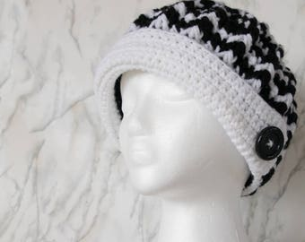 Ladies Black and White Winter Hat - Brimmed Beanie - Custom - Peaked Hat with Buttons - Gift for Her