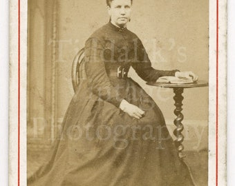 CDV Carte de Visite Photo Victorian Young Woman, Dark Hoop Dress Reading Book Portrait - Maguire & Co. of Birmingham England - Antique